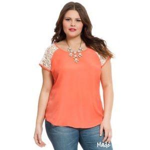 NWT ELOQUII Orange Crochet Raglan Sleeve Top SZ 20